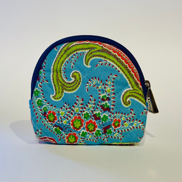 "Paisley Aqua Quilted Cotton Makeup Bags 5""x5"""