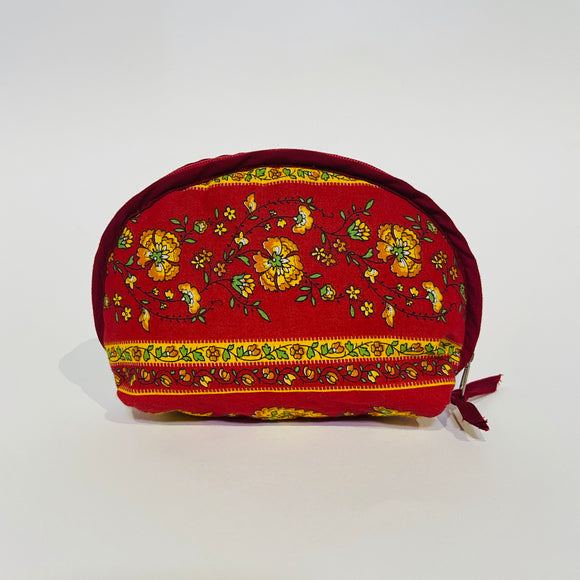 "Palmette Red Cotton Makeup Bags 6""x5"""