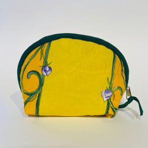 "Lavender Bunch Yellow Cotton Makeup Bags 6""x5"""
