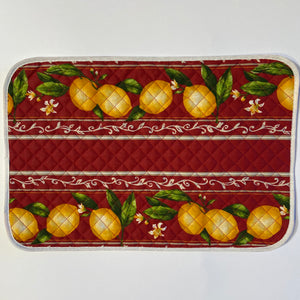 Lemons Red Quilted Placemat