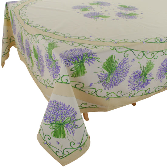 Lavender Bunch Natural Rectangular Cotton Tablecloth (63