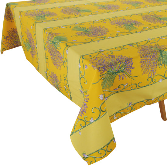 Lavender Bunch Yellow Rectangular Cotton Tablecloth (63
