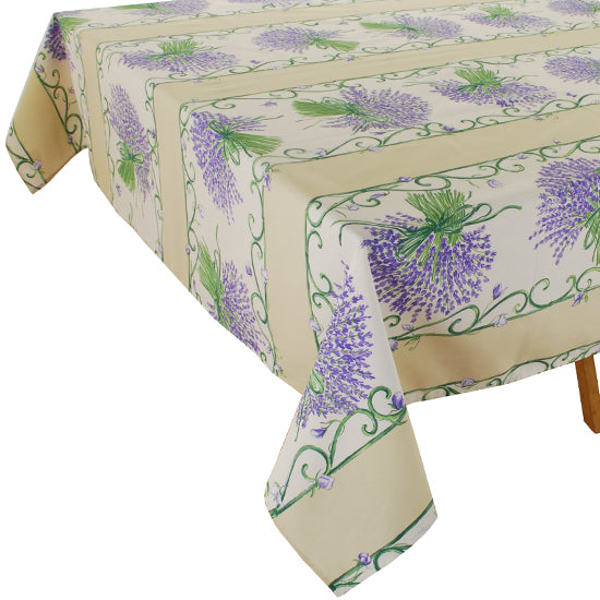 Lavender Bunch Natural Rectangular Cotton Tablecloth - choose your size