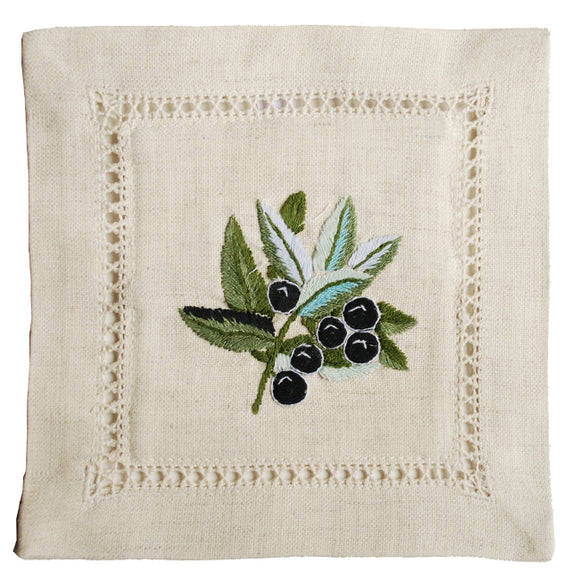Olive Linen Hand Embroidered Lavender Sachet made in France