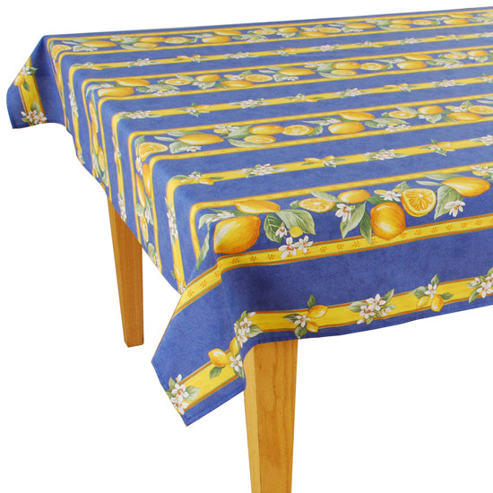 Lemons Blue Rectangular Coated Cotton Tablecloth - choose your size
