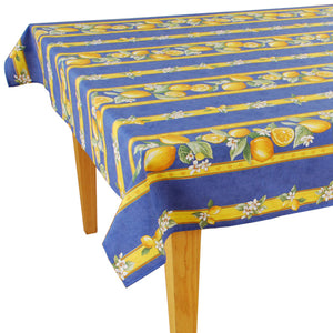 Lemons Blue Rectangular Cotton Tablecloth - choose your size