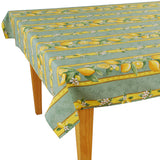 Lemons Green Rectangular Coated Cotton Tablecloth - choose your size
