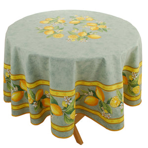 "Lemons Green 70"" Round Cotton Tablecloth"