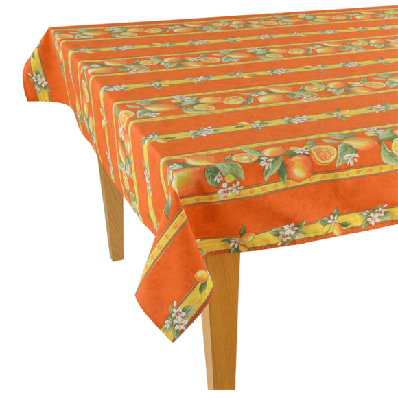 Lemons Orange Rectangular Coated Cotton Tablecloth - choose your size