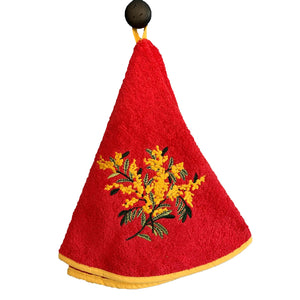 "Mimosa Red 28"" Round Terry Dishtowels"