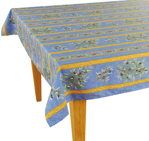 Olive Baux Blue Rectangular Cotton Tablecloth - choose your size