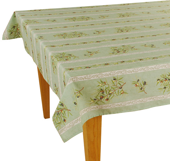 Olive Baux Green Rectangular Cotton Tablecloth - choose your size