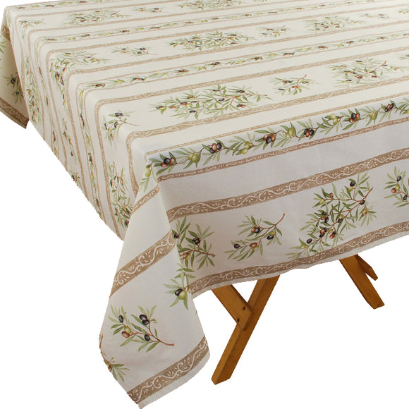 Olive Baux Natural Rectangular Coated Cotton Tablecloth (63