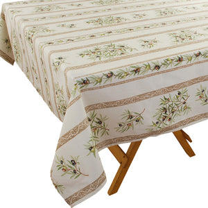 Olive Baux Natural Rectangular Cotton Tablecloth - choose your size