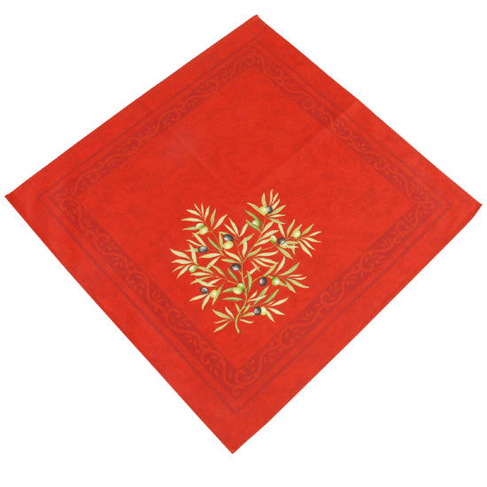 Olive Baux Red Cotton Napkin