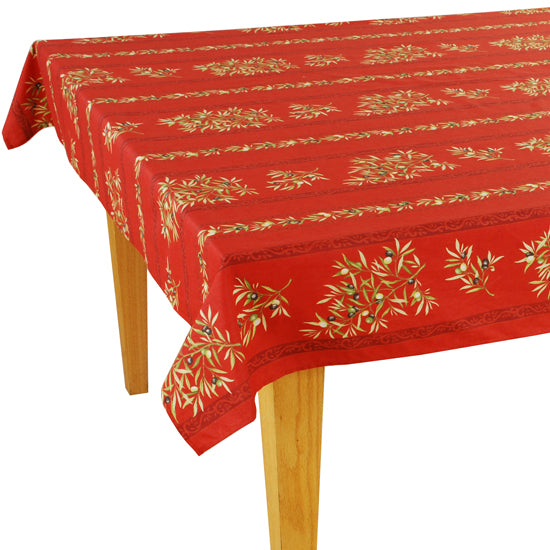 Olive Baux Red Rectangular Cotton Tablecloth - choose your size
