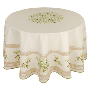 "Olive Baux Natural 70"" Round Cotton Tablecloth"