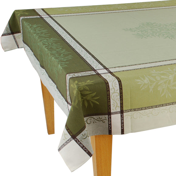 Olives Green Jacquard Tablecloth - choose your size