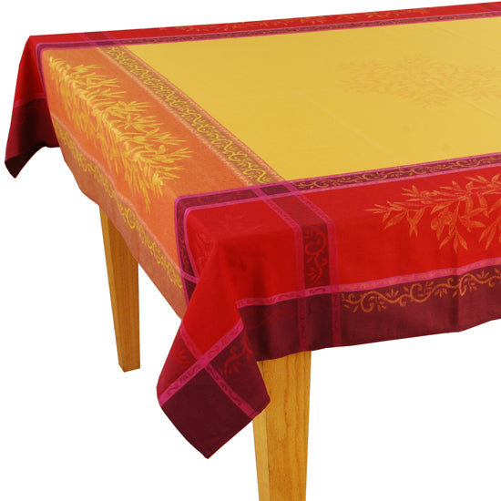 Olives Yellow Jacquard Tablecloth - choose your size