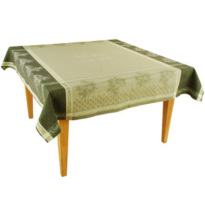 "Olive Bee Green 63""x63"" Square Jacquard Tablecloth"