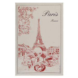 "Tour Eiffel Rouge 19""x28"" Cotton French Image Dishtowel"