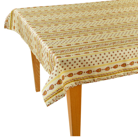 Palmette Natural/Red Rectangular Cotton Tablecloth - choose your size