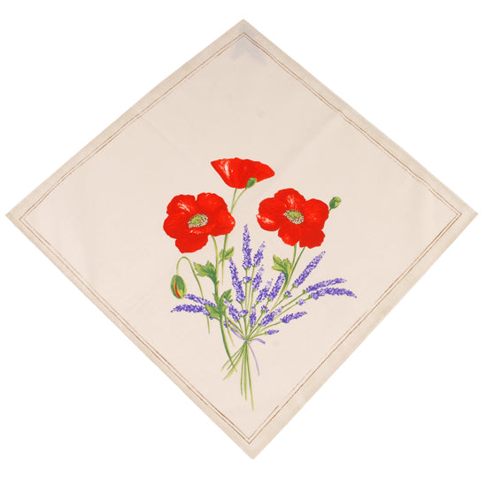 Poppy White Cotton Napkin