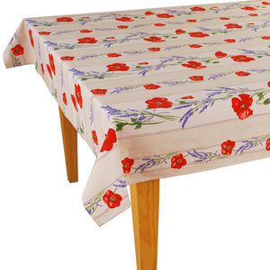 Poppy White Rectangular Coated Cotton Tablecloth - choose your size