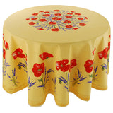 "Poppy Yellow 70"" Round Cotton Tablecloth"