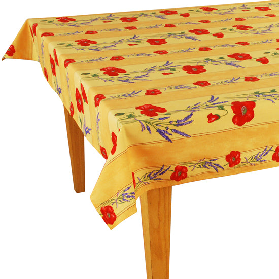 Poppy Yellow Rectangular Coated Cotton Tablecloth - choose your size