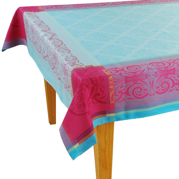 Prodige Aqua Jacquard Tablecloth - choose your size