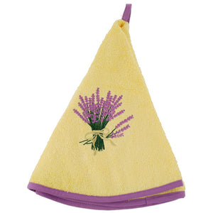 "Lavender Yellow 28"" Round Terry Dishtowel"