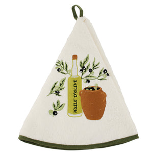 "Olive Oil Pot Natural 28"" Round Terry Dishtowels"