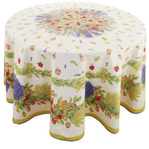 "Roses 70"" Round Cotton Tablecloth"