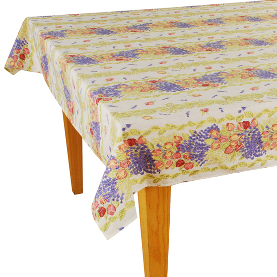 Roses Rectangular Coated Cotton Tablecloth - choose your size