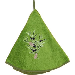 "Olive Branch Green 28"" Round Terry Dishtowel"