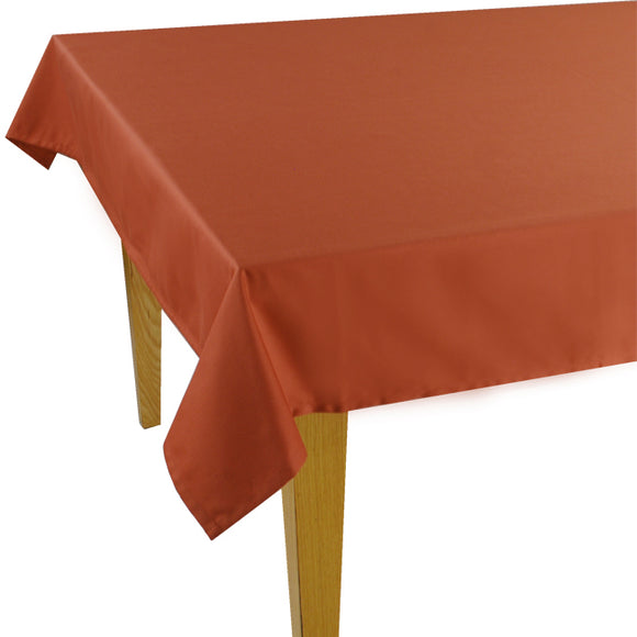 Terracotta Solid Jacquard Tablecloth - choose your size
