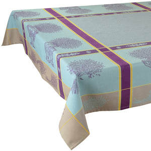 "Valayans Blue 63""x78"" Rectangle Jacquard Tablecloth"