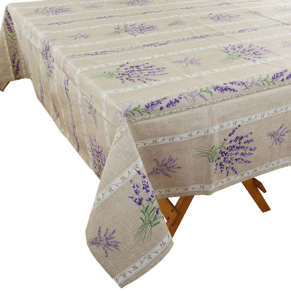 Valensole Linen Rectangular Coated Cotton Tablecloth - choose your size