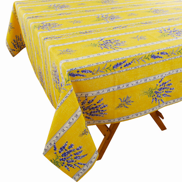 Valensole Yellow Rectangular Cotton Tablecloth - choose your size