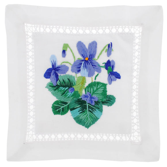 Violet Hand Embroidered Lavender Sachet made in France