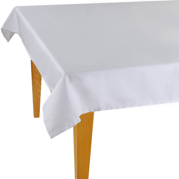 White Solid Jacquard Tablecloth - choose your size