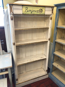 "White ""Bonjour"" Bookshelf with Gold Detailing"
