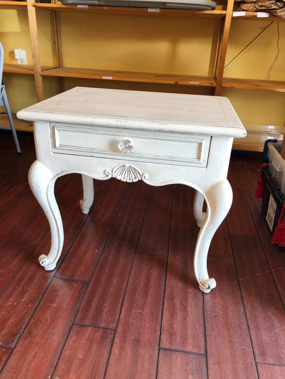White Side Table w/ Single Drawer