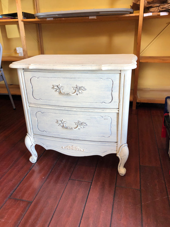 White Side Table w/ Double Drawers