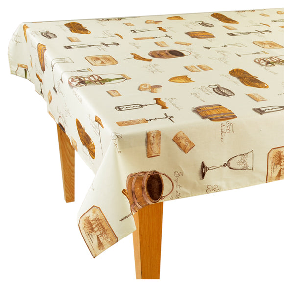 Wine Natural Rectangular Cotton Tablecloth - choose your size