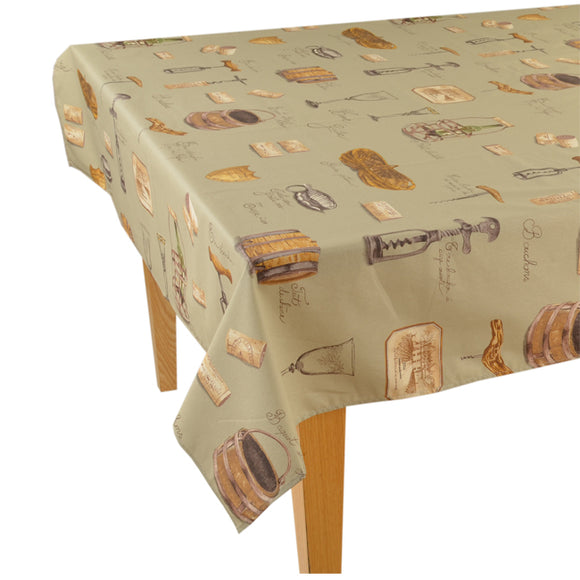 Wine Tan Rectangular Cotton Tablecloth - choose your size