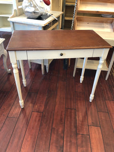 White Writing Desk with Natural Top