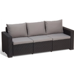 Three Seater Sofa Synthetic Rattan Style - Black