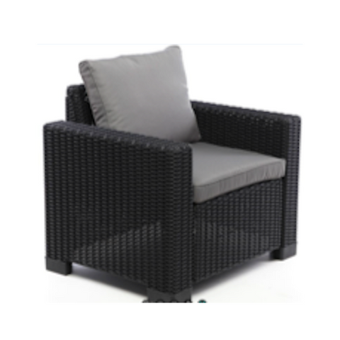 One Seater Chair Synthetic Rattan Style - Black